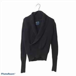 American Eagle Shawl Collar Knit Sweater Black Med
